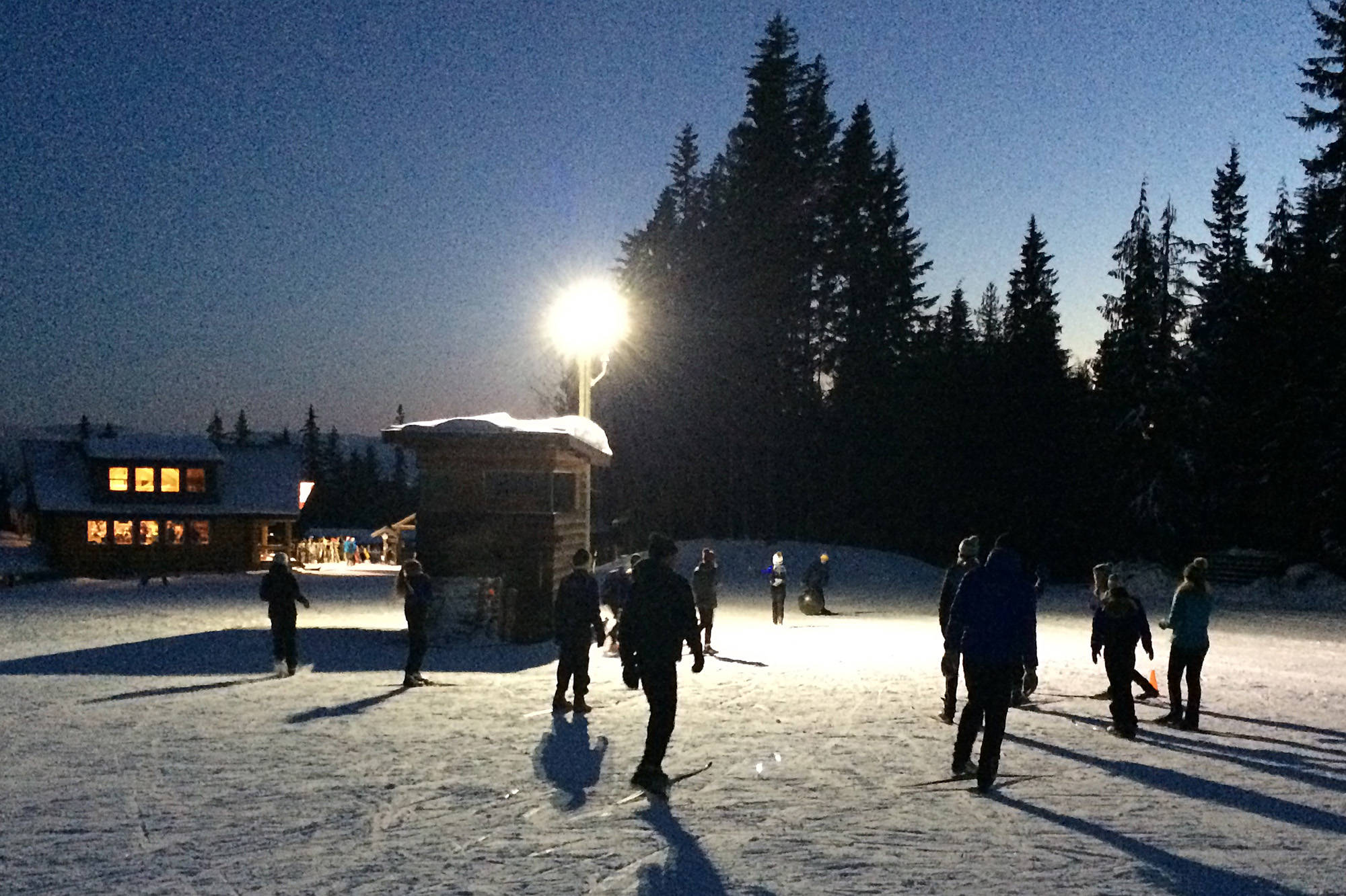 Skiers at Larch Hills near Salmon Arm aren't able to stray far from the chalet and the nearby light once the sun goes down. (Photo contributed)